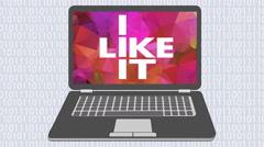 I like information technology. I like IT. Animated laptop Stock Footage