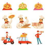 Pizza Delievery Fast Service Process Info Illustration Stock Illustration