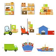 Logistics And Delivery Related Set Of Objects Piirros