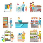 People Shopping In Supermarket Set Of Illustrations Stock Illustration