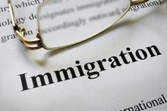 Paper with word immigration and glasses. Law concept. Kuvituskuvat