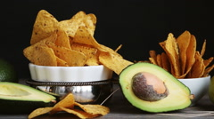 Set of products necessary to cook guacamole sauce Stock Footage