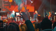 Filming Musicians Performance In The Concert Stock Footage