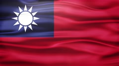 Realistic Seamless Loop Flag of Taiwan Waving In The Wind. Stock Footage