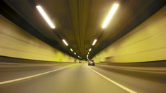 Fast City Drive night road tunnel POV Stock Footage