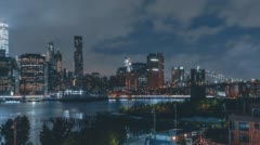 Lower Manhattan at Night from Brooklyn Heights Promenade Stock Footage