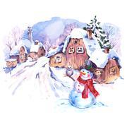 Cozy countryside watercolor winter landscape Stock Illustration