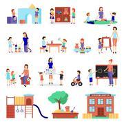 Kindergarten Icons Set Stock Illustration