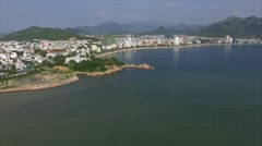 Aerial View of the Scenic Peninsula Rock Garden and Nha Trang Stock Footage