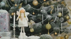 New year handmade toy angel on christmas tree Stock Footage