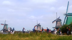 Zaanse Schans wind mill  Netherlands Stock Footage