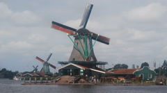 Zaanse Schans wind mill  Netherlands Holland Stock Footage