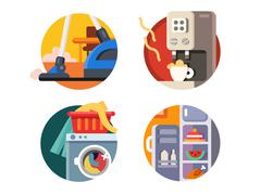 Set of household appliances Stock Illustration