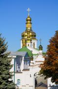 Orthodox Christian monastery, Pechersk Lavra in Kiev on green hills Stock Photos