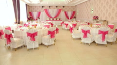 Beautiful banquet hall for wedding. Wedding decor. Stock Footage