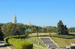 Orthodox Christian monastery - Kiev Pechersk Lavra in Kiev on green hills Stock Photos