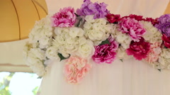 Flowers in wedding decor. Pink and white peonies. Stock Footage