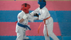 Children's competitions in martial arts Stock Footage
