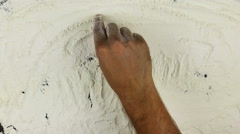 Young man writes a word no gluten on white flour Stock Footage