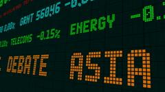 Stock market ticker asia higher as market takes u.s. debate Stock Footage