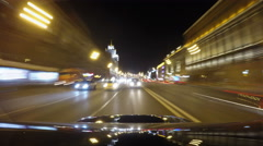 Night road POV through the city at night timelapse back view of the car Stock Footage