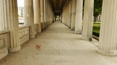 Colonnade in Alte Nationalgalerie, Berlin, Germany Stock Footage