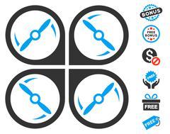 Quadcopter Screws Rotation Icon With Free Bonus Stock Illustration