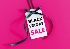 Black friday sale tag with black ribbon Kuvituskuvat
