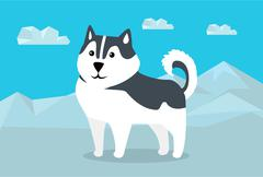 Siberian Husky Vector Illustration in Flat Design Stock Illustration