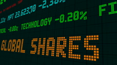 Stock market ticker global shares dropped Stock Footage