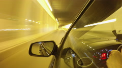 Night road POV through the city at night timelapse left side of the car Stock Footage