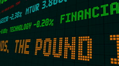 Stock market ticker in britain the pound is sinking Stock Footage