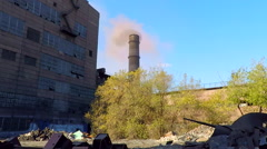 Area with garbage in front of the plant Stock Footage