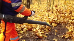 Worker blows the autumn leaves Stock Footage