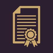 The diploma icon. Certificate symbol. Flat Stock Illustration