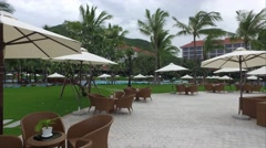 View of the Hotel and Cafes With Umbrellas Stock Footage
