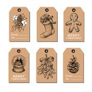 Christmas vintage gift tags set. Vector hand drawn illustration. Stock Illustration