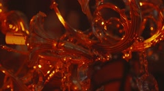 Old fashioned golden chandelier Stock Footage