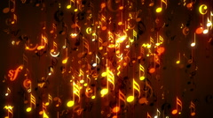 Golden Musical Notes Dance VJ Loop Stock Footage