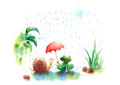 Watercolor illustration of Rainy season frog and snail under red umbrella Stock Illustration