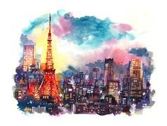 Japan landmark Tokyo tower at twilight watercolor illustration Stock Illustration