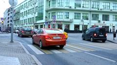 Crossroads. Crosswalk. Urban traffic. Camera view from below. Stock Footage