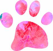 Watercolour Dog Paw Silhouette Stock Illustration