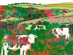 Watercolour Cows Grazing Stock Illustration