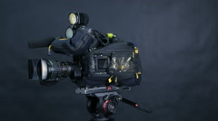 Studio broadcasting camera. Slider shot Stock Footage