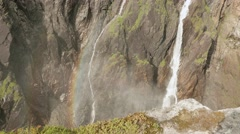 Waterfall Voringfoss in Norway. Stock Footage
