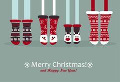 Family feet in Christmas socks. Stock Illustration