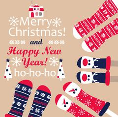 Family feet in Christmas socks. Vector. Stock Illustration
