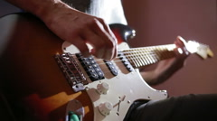 Hands of man playing electric guitar. Bend technique. rock musician Stock Footage