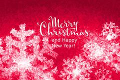 Merry Christmas and Happy New Year Lettering on ice background Stock Illustration